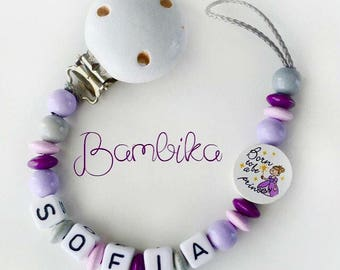 Binky clip girl princess pacifier with name pink purple soother clip personalized gift custom pacifier keepsake baby gift baby shower