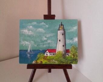 Lighthouse miniature painting, Original Lighthouse painting, Acrylic hand painted on wood