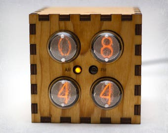 IN-1 Nixie Tube Clock - Cube Clock - Nixie Clock with adapter and wood enclosure