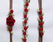 Red floral Headband, Flower crown,Christmas Baby Headband,gold flower crown, flower Headband, Rose headband, baby Headband. B7