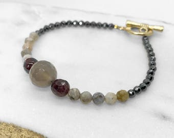 Beaded bracelet, Gemstone bead bracelet with toggle, Valentines gift, Agate beads, Black Pyrite beads, Friendship gift, handmade with love