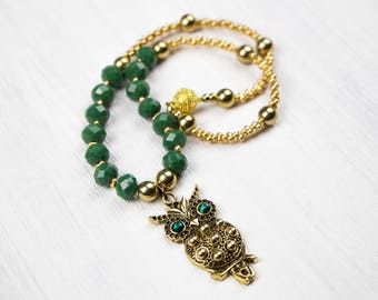 Necklace OWL gold green, trailer owl, Rhinestones, Miyuki beads, polished crystal glass beads, handmade, Uli A jewelry