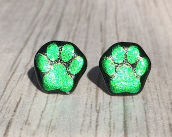 Dichroic Fused Glass Stud Earrings - Green Paw Print Laser Engraved Etched Studs with Solid Sterling Silver Posts