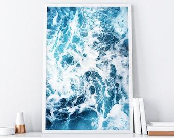 Ocean Water Print, Ocean Print, Abstract Printable Art, Water Print, Blue Water Print, Coastal Wall Art, Ocean Art, Water Wall Art, Sea Art