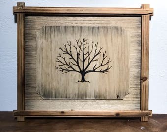 Handmade Tree Wood Burning Art