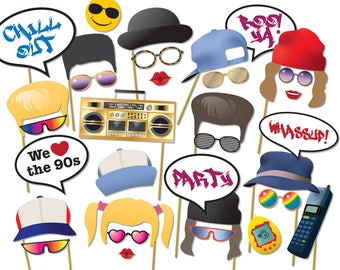 90s Party Photo Booth Props - nineties 90's Rave, Grunge, Hip Hop Photobooth props, Instant Digital Download - 0175