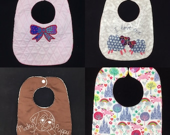 4 ITH Bib Patterns, 9x12,ITH Baby Bib, Sheep Machine Embroidery design, In-The-Hoop, digital embroidery pattern. Easy. Pixie Willow Patterns