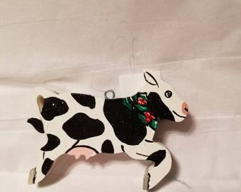 wooden cute cow christmas ornament