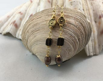 Smokey Topaz Brown Quartz Freshwater Pearl Dangle/Drop Earrings 18ct Gold Plate Wires