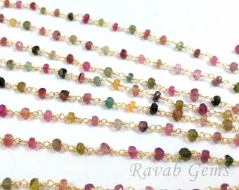 5 feet - Natural Multi Tourmaline  Rosary Style Chain - 24k Gold Plated  Beaded Chain 3-4mm. Multi Tourmaline Rosary Chain