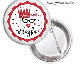 1 large model 75mm bride badge.. .personnalisable name date @9