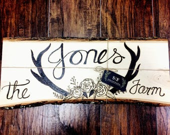 Personalized wood burned wall decor large