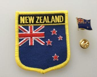 New Zealand Shield Country Flag Embroidered Patch and Pin Badge Set