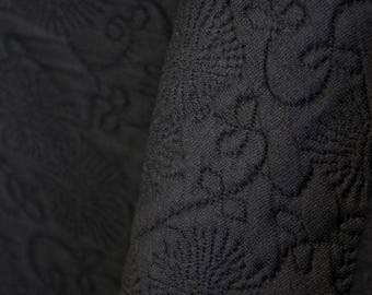 Black Stretch Embossed Fabric - 58 Inches Wide