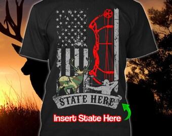 Personalized Deer Hunter T-shirt Hunting Moose Hunting Season Custom US State Name Antler T Shirt Funny Buck Unisex Men Women Youth Gift