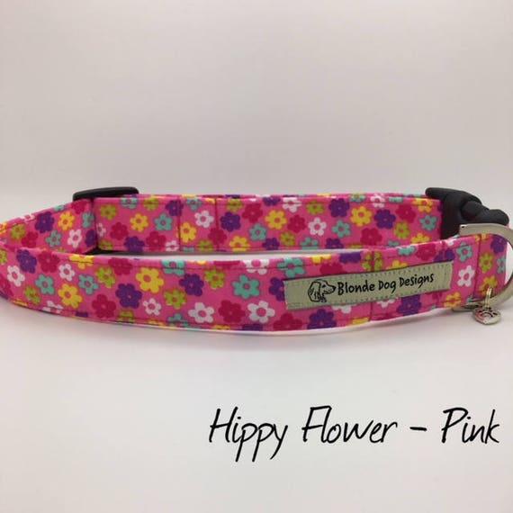 Floral Dog Collar, or, Floral Dog Lead, Hippy Flower Pink,  Pretty Dog Collar, Pink Dog Collar, Dog Collar UK.