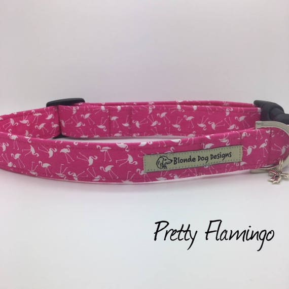 Luxury Dog Collar, or, Luxury Dog Lead, Pretty Flamingo , Pink Dog Collar, Pink Dog Lead, Flamingo Fabric, Girl Dog Collar, Girl Dog Lead