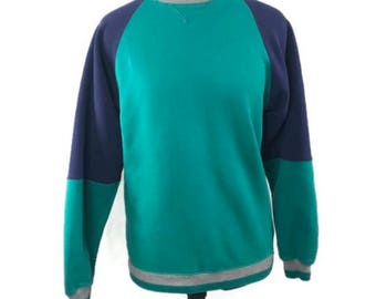 Vintage Raglan Crewneck - St. John's Bay Teal and Navy Crewneck Sweatshirt