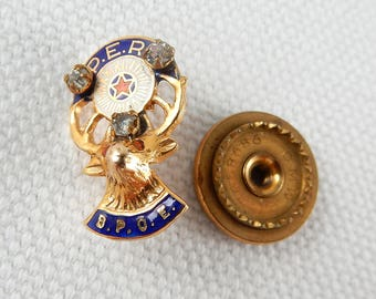 Vintage BPOE Elks Lodge Lapel Pin PER 14K Gold Ruby Diamonds 17124
