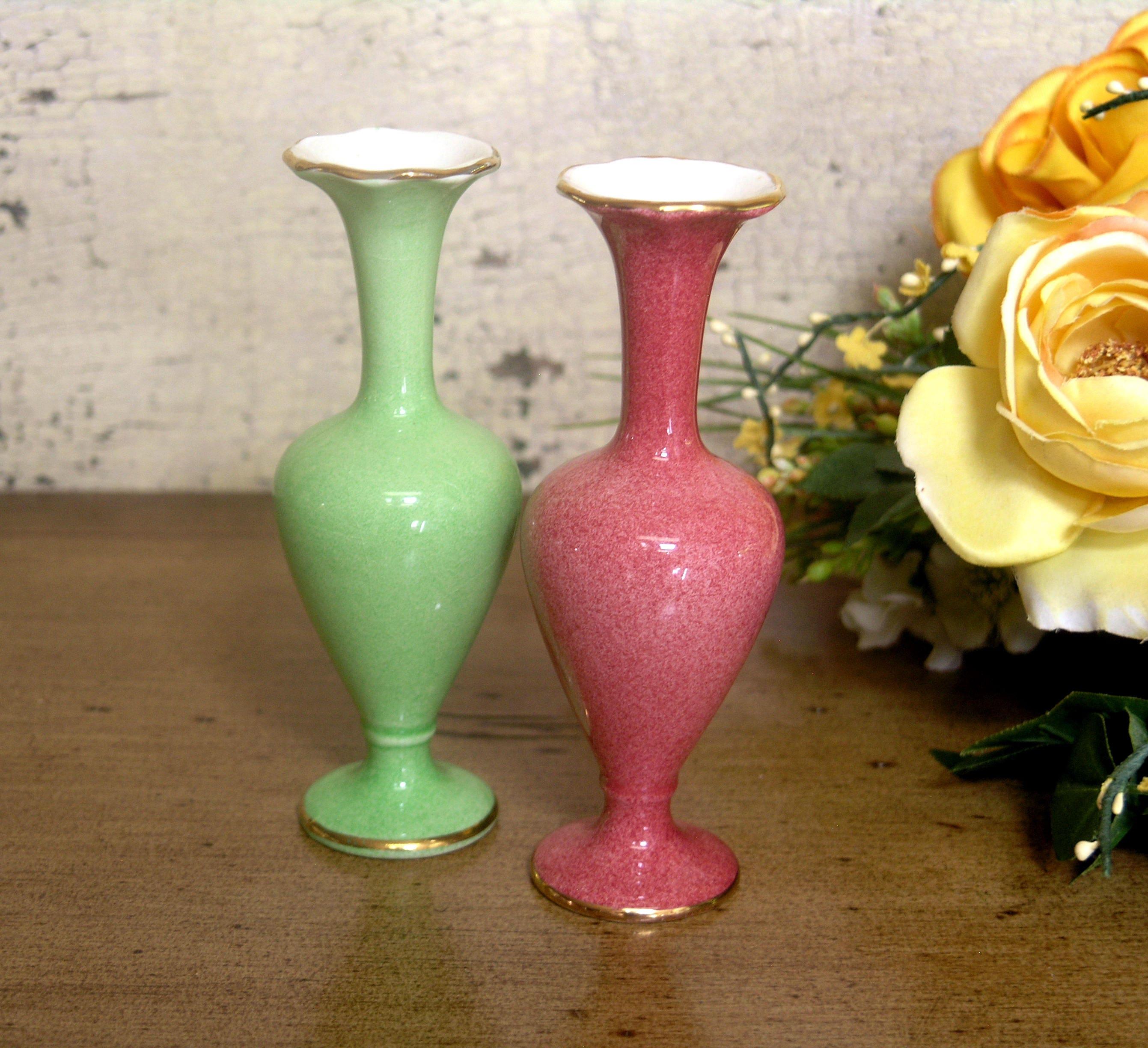 Antique royal winton grimwades pair of porcelain bud vases one antique royal winton grimwades pair of porcelain bud vases one pink and one green gold trim reviewsmspy