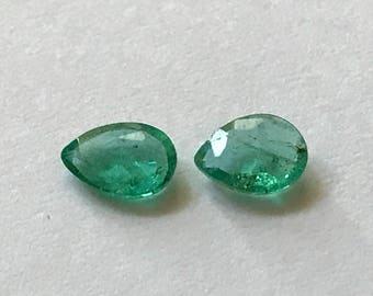 0.76 TCW Natural Matched Pair of Pear Cut Emeralds from Muzo Colombia.