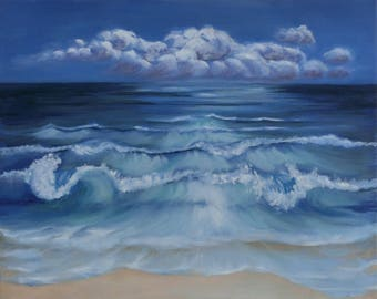 Oil painting Sea with Beach 1, Gr.: 50 x 40 cm waves, landscape,