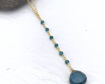 Iolite Gold Pendant Necklace | Y Necklace | Gemstone Necklace | Gold Necklace | Blue Necklace | Bridesmaids Gifts | Gift for Her