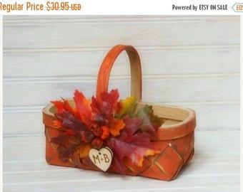 SALE Fall Wedding, Flower Girl, Pumpkin Baskets, Fall Pumpkin Basket, Rustic Wedding, Barn Wedding