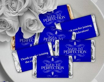 Aged to Perfection Blue - Birthday Party Instant Download - EDITABLE PDF, DIY Hershey Mini Candy Bar Wrappers, Printable Labels