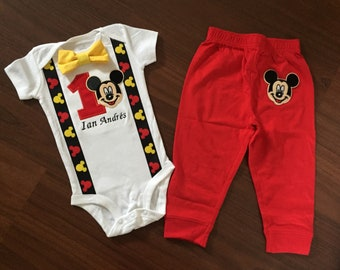 Mickey Personalized Embroidered First birthday, Boys birthday outfit, Baby boy first birthday, Mickey party, Mickey outfit