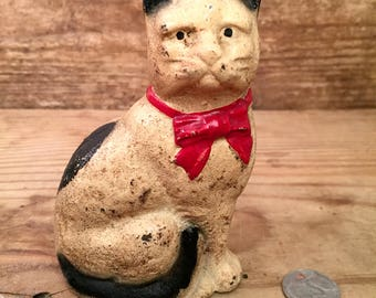 Antique Early 1900's Cast Iron Cat Bank - Not Reproduction