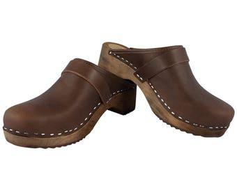 Original Sweden Clogs Fat leather clogs Brown
