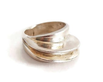 Modernist Sterling Silver Ring Size 6.5, Abstract Design 925 Ring, Modernist Jewelry, Architectural Design, High Profile Ring, Vintage