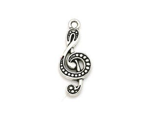 Set of 10 charms silver treble clef, notes, music, musician, (D12)