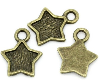set of 20 (T17) Bronze Star charms