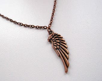 Wing necklace, wing pendant, men wing pendant, men wing necklace, copper wing necklace, copper wing pendant, for men, copper wing men, gift