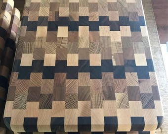 Amish made solid exotic wood 10x12 patchwork pattern cutting board.
