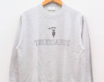 Vintage TRUSSARDI Big Logo Outdoor Sportswear Gray Sweater Sweatshirts