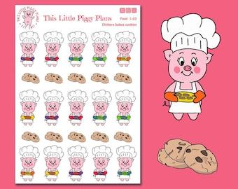 Oinkers Bakes Cookies - Baking Cookies Planner Stickers - Baking Stickers - Cookie Stickers - Baker - Cookies - Dessert - [Food 1-03]