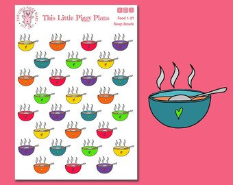 Soup Bowls Planner Stickers - Soup Planner Stickers - Soup Bowls - Soup Stickers - Fall Stickers - Food Planner Stickers - [Food 1-21]