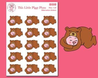Oinkers Hibernates - Planner Stickers - Bear Stickers - Sleep Planner Stickers - Winter Stickers - Animal Stickers - Bedtime - [Misc. 1-63]