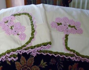 Irish Crochet Pillow Cases- Set of Two