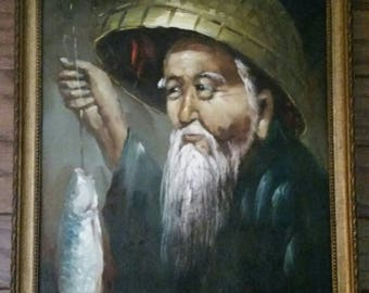 SALE! Vintage chinese fisherman, canvas oil painting in frame.18x14
