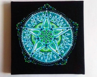 Good Fortune Mandala , Year of the Dog , Lucky Star,  Mandala art,  Blue Green Wall  Art, Acrylic Painting,  Ready to hang, OOAK Unique