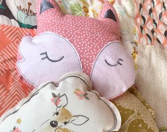 Pillow child's room personalised Baby Doe deer head