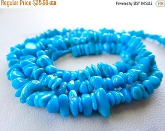 63% End of Summer Sale Natural sleeping beauty Turquoise chip nugget beads/5x2-8x3mm/8.5 inch strand