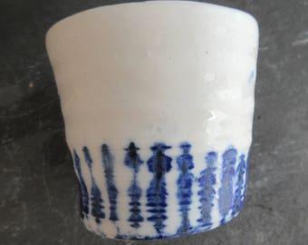 Ceramic Cup, White Ceramic Mug, Blue and White Ceramic Cup, Blue and White Ceramic Trinket Dish, Porcelain Cup, Hand thrown Mug