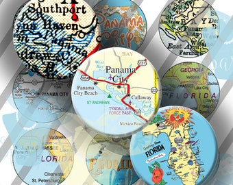 Panama City Beach, Florida Map Bottle Caps, FL Map Bottle Cap Digital Images, 1 Inch (25mm) Circles: Instant Download
