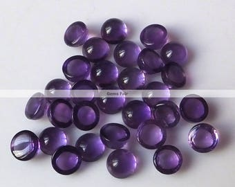 10 pieces 5mm Amethyst round cabochon gemstone - top quality natural Amethyst cabochon round loose gemstone - flat back amethyst cabochon