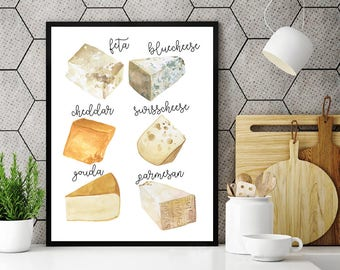 Cheese Varieties, Watercolor Cheese Print, Cheese Illustration, Kitchen Art, Food Poster, Cheese Prints, Cheese Printable, Dining Room Art